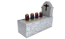 Day Saints cemetery and lamps, 3d render Royalty Free Stock Photo