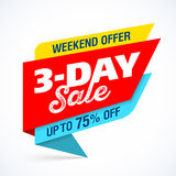 3 Day Sale banner design template Stock Photography