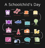 A Day Of A Schoolchild. Sequence of events presented as infographics via pictograms Royalty Free Stock Photography
