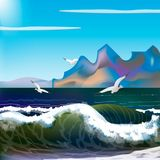 Sea with waves and mountains. Day sea with waves and mountains. storm on the sea Royalty Free Stock Image