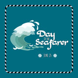 Day of the Seafarer  greeting card. Vector illustration. Royalty Free Stock Photography