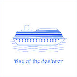 Day of the Seafary. `Day of the Seafary` - the vector background with the blue ship Royalty Free Stock Image