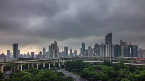 Day shanghai sidewalk cloudy day road junction view 4k time lapse china. China day shanghai famous sidewalk cloudy day road junction panorama 4k time lapse stock video