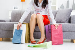 After a day of shopping Royalty Free Stock Image