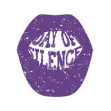 Day of Silence. Abstract illustration of a mouth with the typography Day of Silence Royalty Free Stock Photography