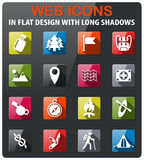 Day of skouts icon set. Day of skouts icons set in flat design with long shadow Royalty Free Stock Photography
