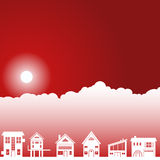 Day Sky Scene - Homes. Background day scene with clouds and sun with homes Stock Photos