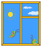 Day sky in a window. Butterflies and a window with the sun and clouds in the blue sky Stock Images