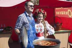 Day of Sloviansk. Mayor Vadim M. Lyakh at the Sloviansk Cathedra Stock Photography