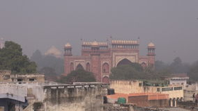 Day smog and mist in Agra city, India stock footage