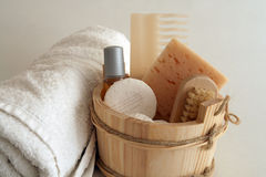 Day of Spa. Spa and relaxation. Objects for a good shower Stock Images