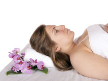 Day spa aroma therapy massage table Royalty Free Stock Images