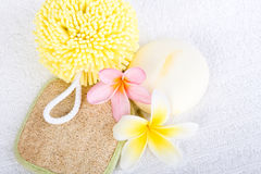 Day Spa Pamper Products. Day spa beauty pamper products on white towel stock image