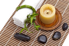 Day spa setting. With zen stones and bamboo plant Stock Photos