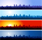 Day steps. Montreal cityscape at different time of the day. Morning, day, night