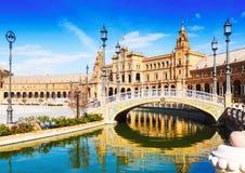 Day sunny view of Plaza de Espana with bridge Stock Image