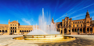 Day sunny view of Plaza de Espana with fountain Stock Photography