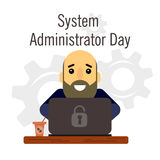 Day of the system administrator. Cartoon, funny picture man with a beard and bald head system administrator. Royalty Free Stock Image