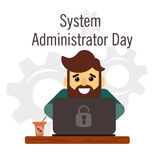 Day of the system administrator. Cartoon, funny picture man with a beard by the system administrator. Stock Stock Image