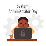 Day of the system administrator. Cartoon, funny picture man curly hair, a swarthy complexion by the system administrator. Stock Photo