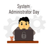 Day of the system administrator. Cartoon, funny picture man curly hair system administrator. Stock Stock Image