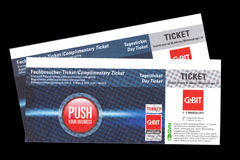 Day Ticket for Cebit 2011 in Hannover, Germany. CeBIT is the world's largest computer expo Royalty Free Stock Image
