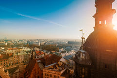 Day time aerial sityscape of Krakow old city Stock Photos