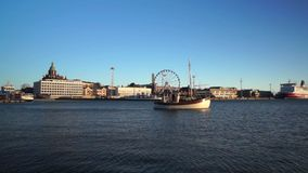 Day time Helsinki harbor stock footage