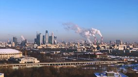 Day time Moscow city panorama stock video