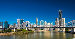Day time panorama of Brisbane city with Story Bridge and ferries stock video
