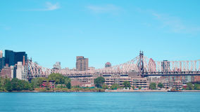 Day time queensboro bridge traffic 4k time lapse from new york stock video