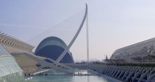 Day time sun light valencia city of art museum fountain road 4k spain. Europe stock video footage