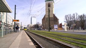 Day time tram arriving at Spandauer Strasse/Marienkirche Station, Berlin, Germany