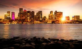 Day to night cityscape photo for Boston city skyline royalty free stock photography