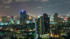 Day to Night High rise Time lapse Bangkok skyline in Thailand stock video footage