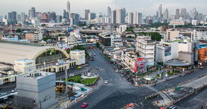Day To Night Passing Cloud And Traffic On Road Near Bangkok Railway Station, Thailand stock footage