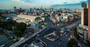 Day to night passing cloud and traffic on road near Bangkok Railway Station stock video