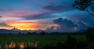 Day To Night At Rice Field. Timelapse day to night with colorful sky over rice field at Songkhla,Thailand stock video footage