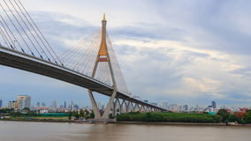 Day to Night time lapse of Beautiful Big Bhumibol Bridge stock footage