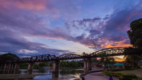 Day to Night Time-lapse of Bridge River Kwai in Kanchanaburi, Thailand stock video footage