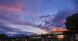 Day to Night Time-lapse of Bridge River Kwai in Kanchanaburi, Thailand stock footage