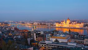 Day to night time-lapse. Budapest with the Danube and the Parliament building, Hungary. Aerial view of Budapest. Hungary. Time-lapse stock video footage