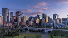 Day to night time lapse of Calgary`s downtown stock video footage