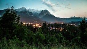Day To Night Time-lapse in Garmisch-Partenkirchen Austria. stock video footage