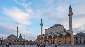 Day to night time lapse of Mevlana Museum and Selimiye Mosque in Konya, Turkey.  stock footage