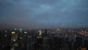 Day to night time lapse Nyc skyline. Video of day to night time lapse Nyc skyline stock video
