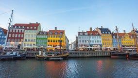 Day to Night Time lapse of Nyhavn waterfront harbor in Copenhagen, Denmark