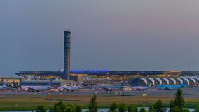 Day to night time lapse of Suvarnabhumi Airport , the airport is one of two international airports serving of Thailand. BANGKOK, THAILAND-Nov 30, 2018: day to stock footage