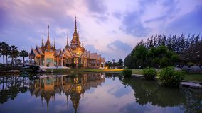Day to Night Time-lapse of Wat None temple in Nakhon Ratchasima province, Thailand