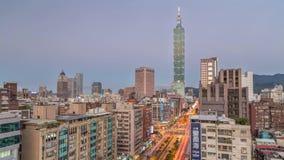 Day to night timelapse of downtown Taipei stock footage